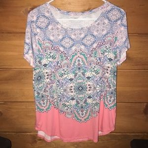 Westport Large blouse blue, coral, and white